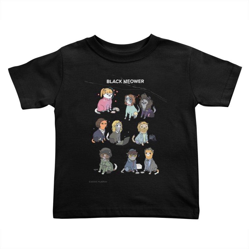 Black (Cat) Mirror Kids Toddler T-Shirt by KittyCassandra's Artist Shop
