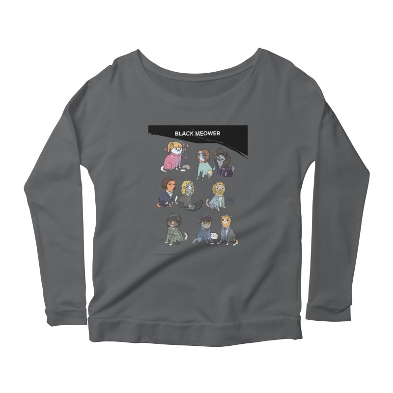 Black (Cat) Mirror Women's Longsleeve Scoopneck  by KittyCassandra's Artist Shop