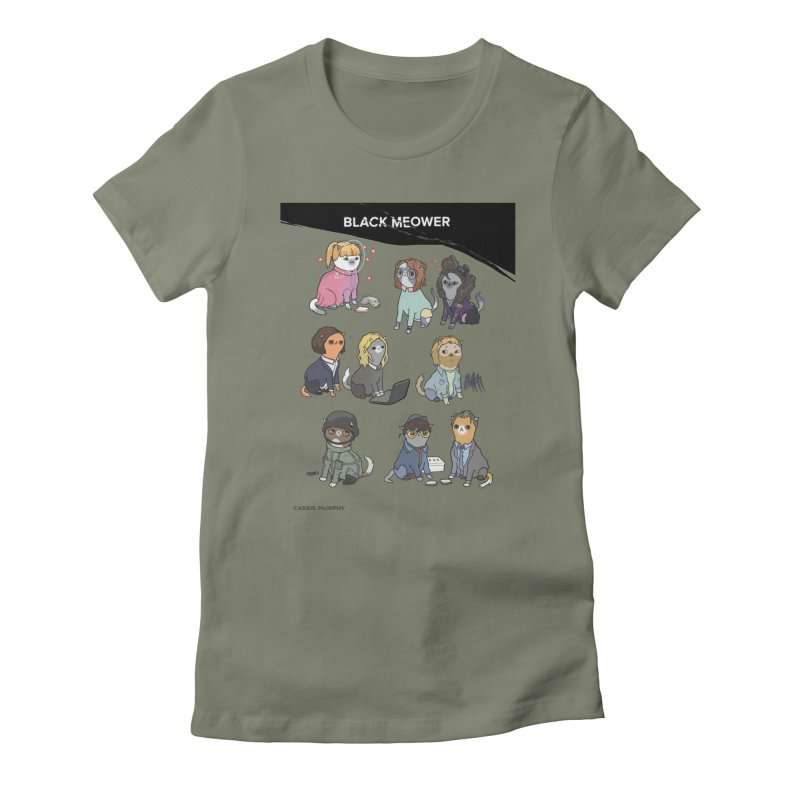Black (Cat) Mirror Women's Fitted T-Shirt by KittyCassandra's Artist Shop