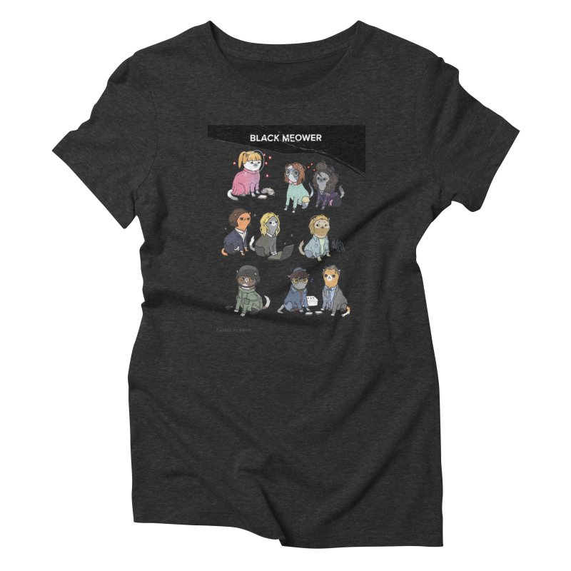Black (Cat) Mirror Women's Triblend T-Shirt by KittyCassandra's Artist Shop