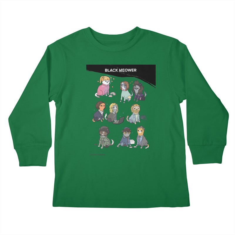 Black (Cat) Mirror Kids Longsleeve T-Shirt by KittyCassandra's Artist Shop