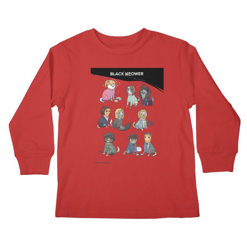 Black (Cat) Mirror Kids Longsleeve T-Shirt by KittyCassandra's Artist Shop