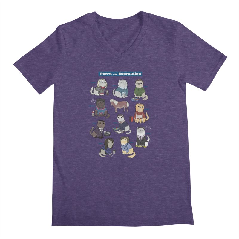 Purrs and Recreation Men's V-Neck by KittyCassandra's Artist Shop
