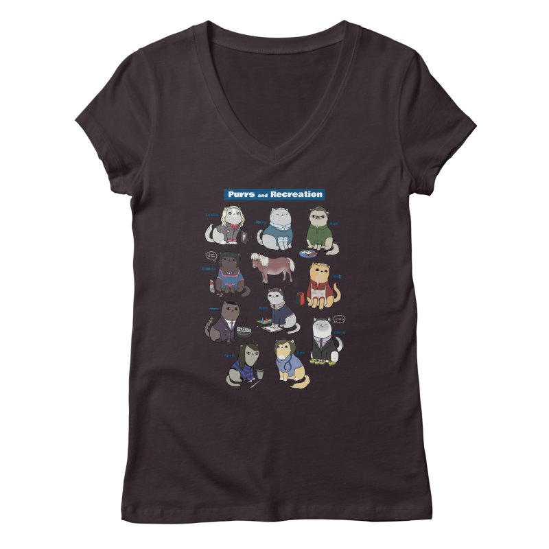 Purrs and Recreation Women's V-Neck by KittyCassandra's Artist Shop