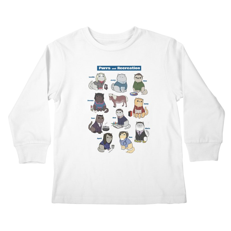 Purrs and Recreation Kids Longsleeve T-Shirt by KittyCassandra's Artist Shop