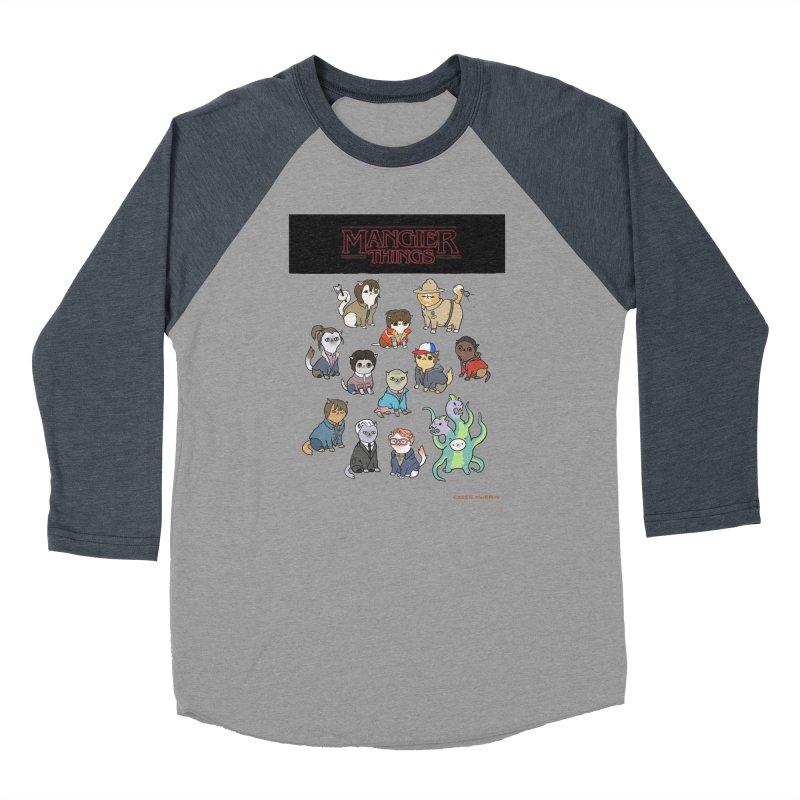 Mangier Things Men's Baseball Triblend T-Shirt by KittyCassandra's Artist Shop