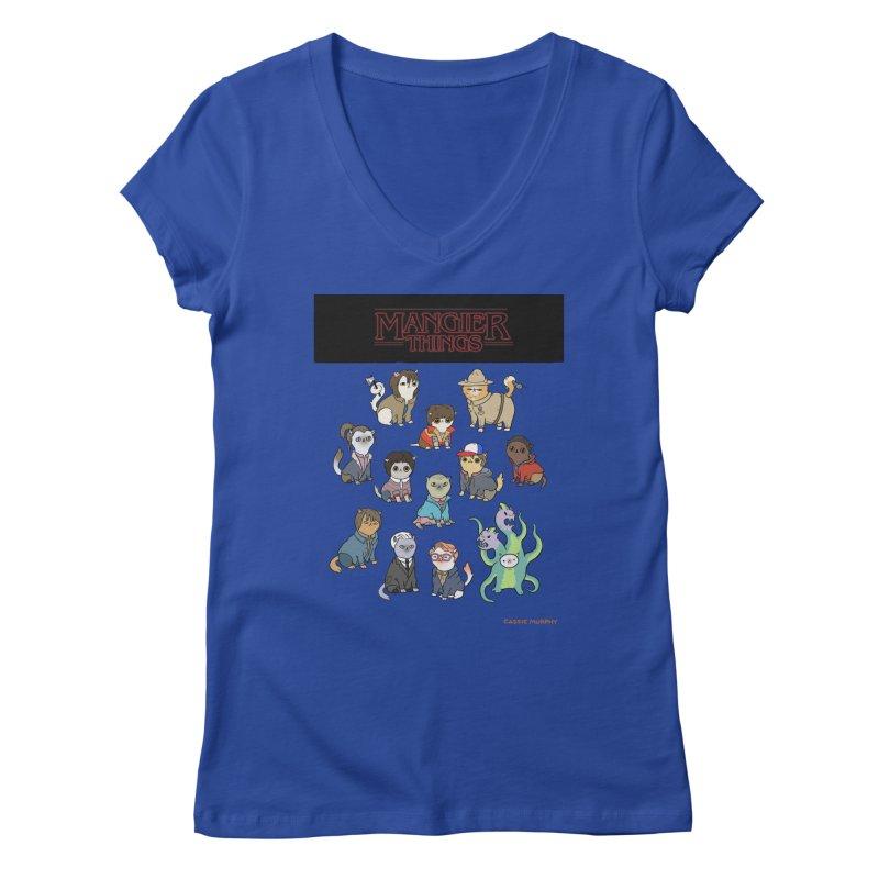 Mangier Things Women's Regular V-Neck by KittyCassandra's Artist Shop