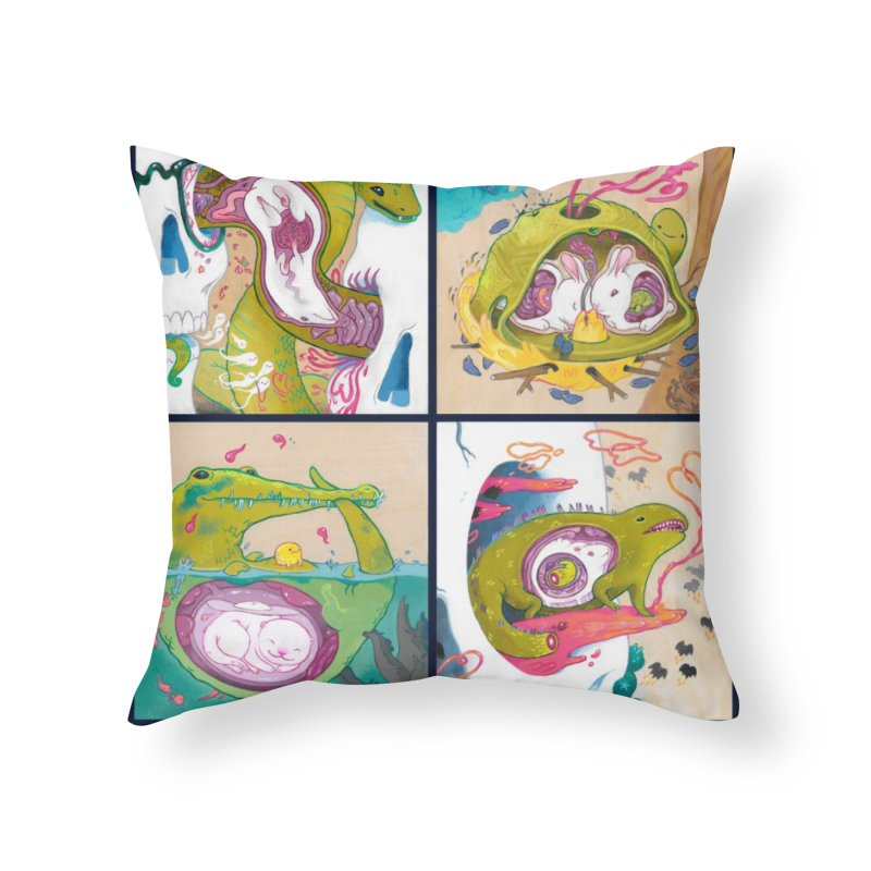 Reptile Nest Series Home Throw Pillow by KittyCassandra's Artist Shop