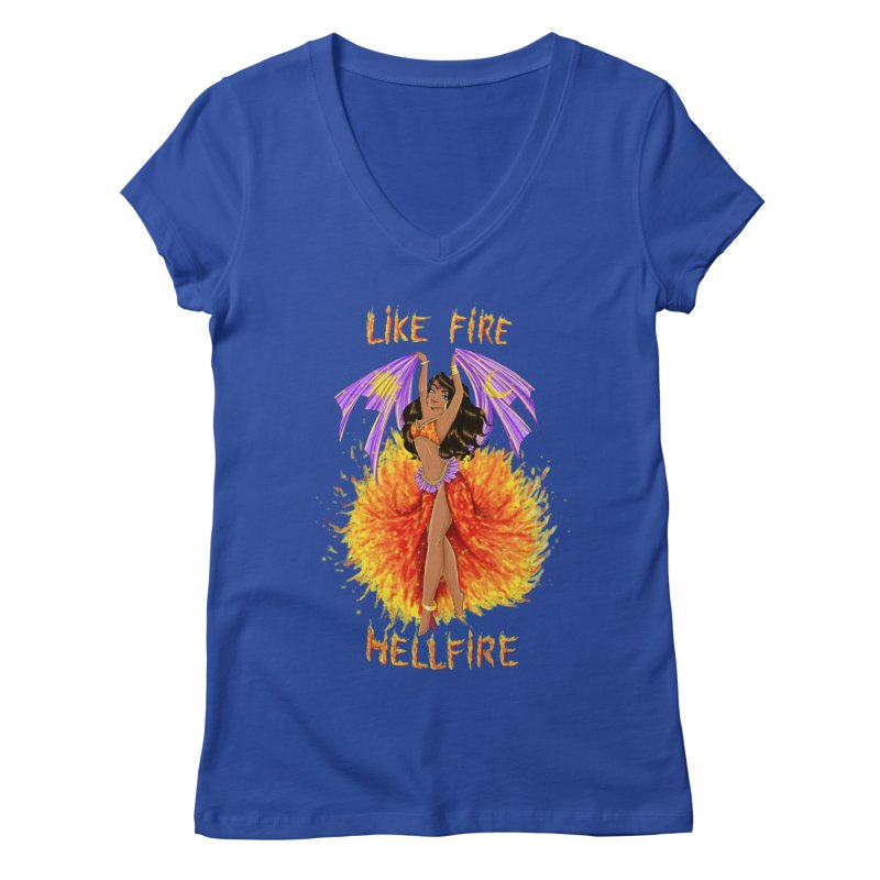 Hellfire Women's V-Neck by kktty's Artist Shop