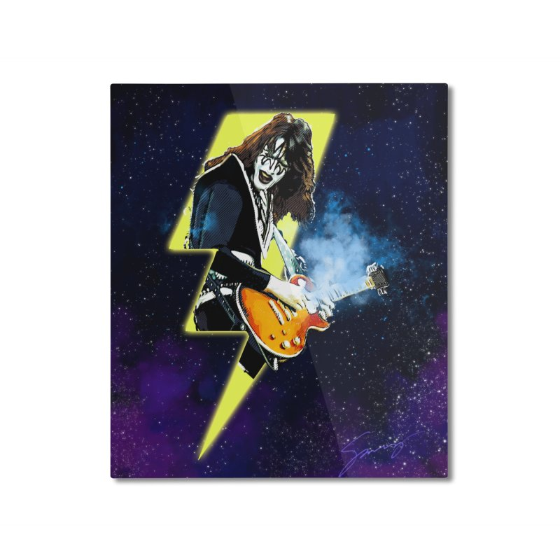 KISS Ace Frehley Shock Me Fine Art Home Mounted Aluminum Print by Klick Tee Shop