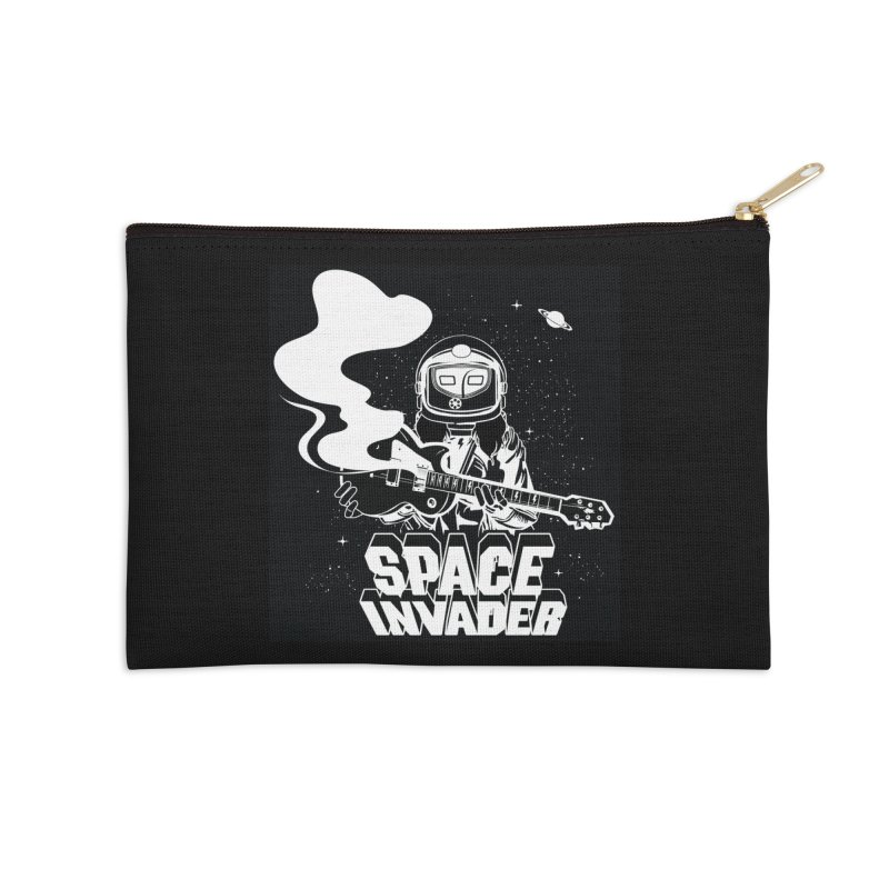 Space Invader Accessories Zip Pouch by Klick Tee Shop