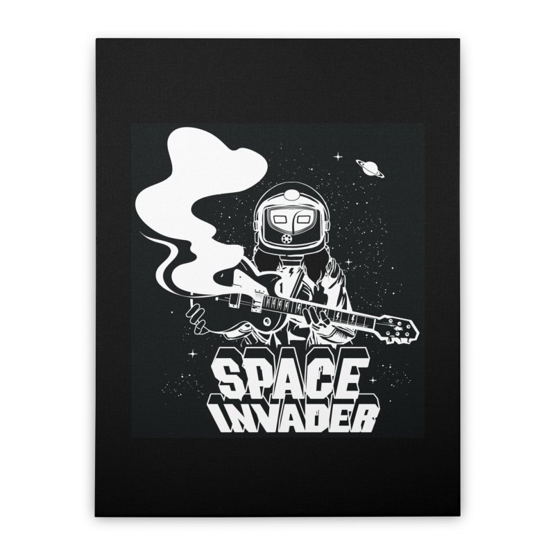 Space Invader Home Stretched Canvas by Klick Tee Shop