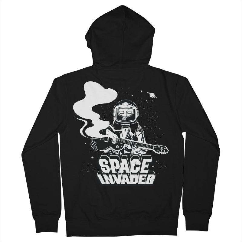 Space Invader Women's French Terry Zip-Up Hoody by Klick Tee Shop
