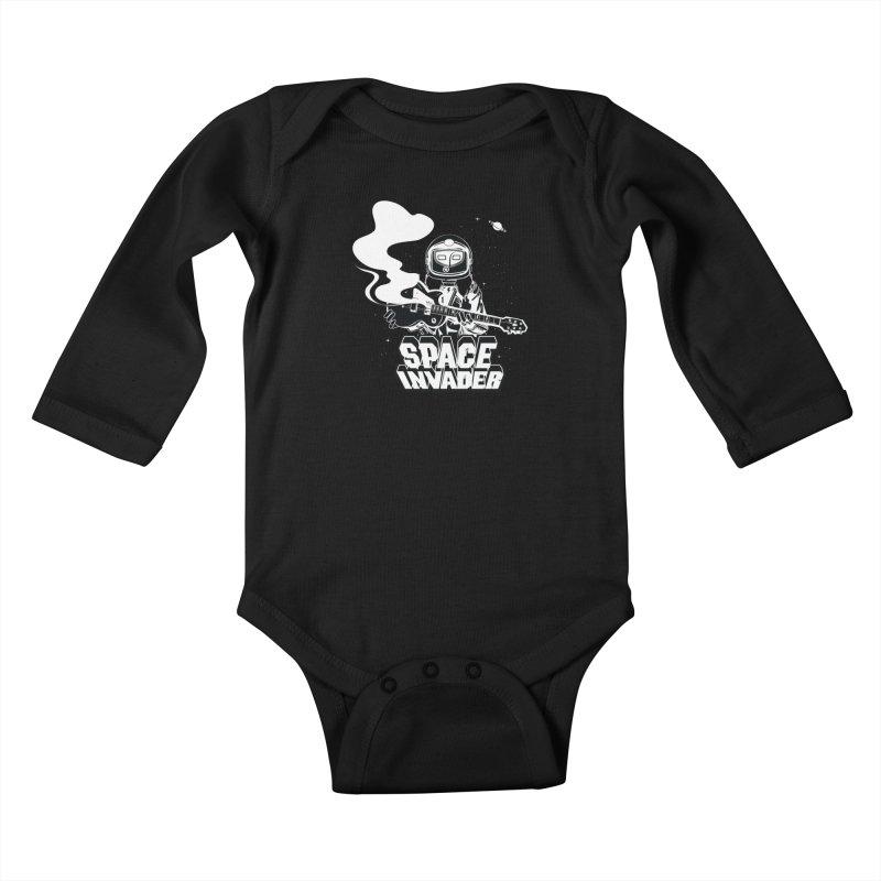 Space Invader Kids Baby Longsleeve Bodysuit by Klick Tee Shop