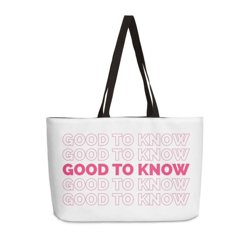 Good to KNOW Accessories Weekender Bag Bag by KNOW Identity