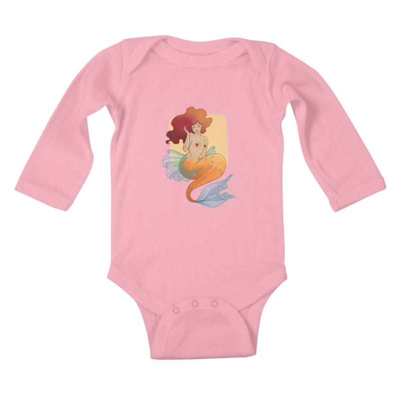 Mermaid Pin-up Kids Baby Longsleeve Bodysuit by Kobrah's Artist Shop