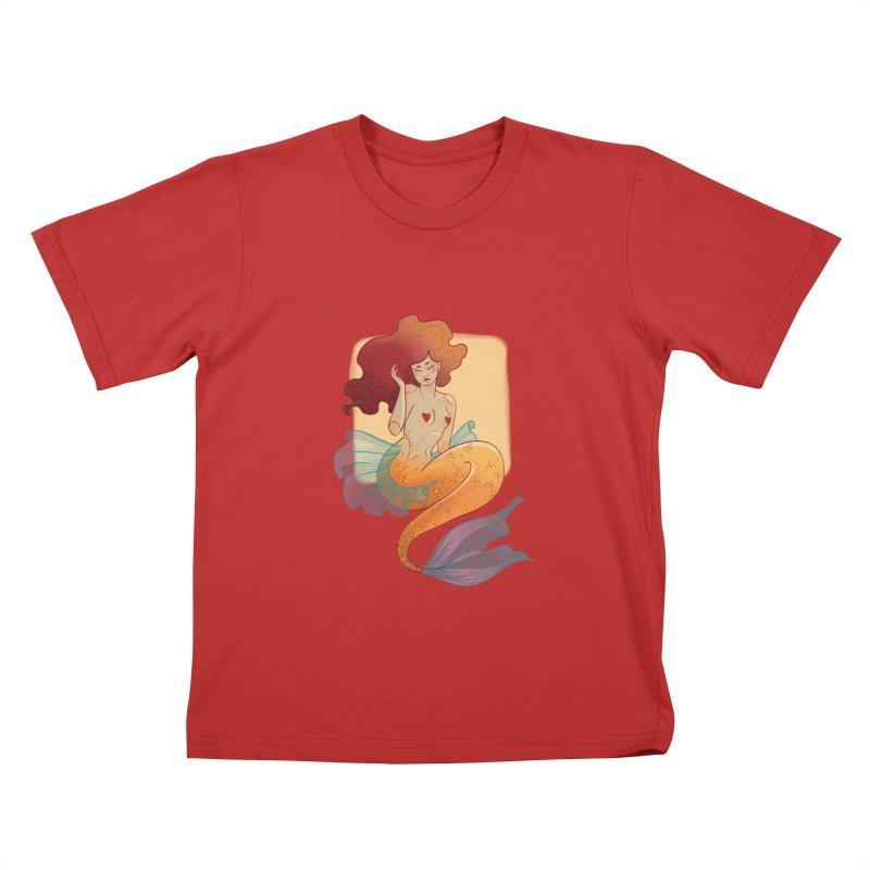 Mermaid Pin-up Kids T-Shirt by Kobrah's Artist Shop