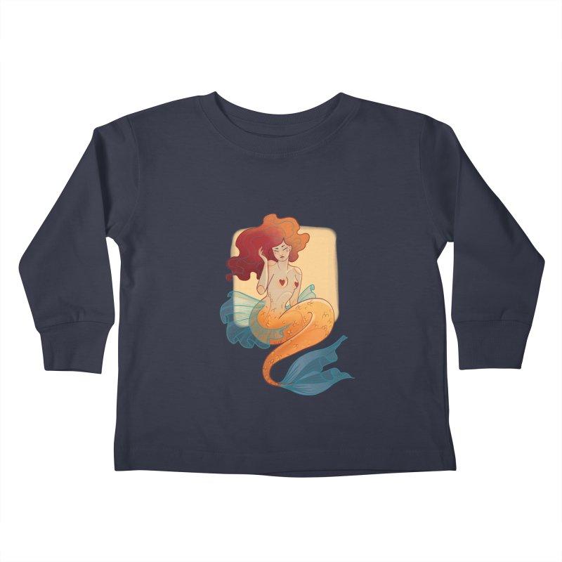 Mermaid Pin-up Kids Toddler Longsleeve T-Shirt by Kobrah's Artist Shop