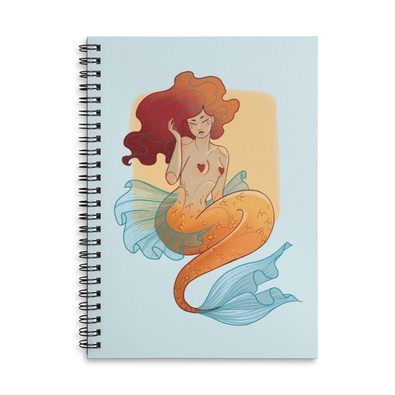 Mermaid Pin-up Accessories Lined Spiral Notebook by Kobrah's Artist Shop