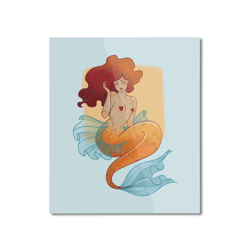 Mermaid Pin-up Home Mounted Aluminum Print by Kobrah's Artist Shop