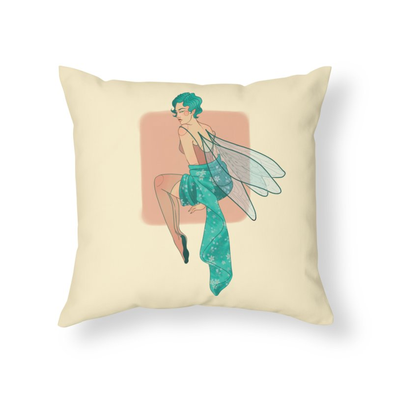 Pin-up Pixie Home Throw Pillow by Kobrah's Artist Shop