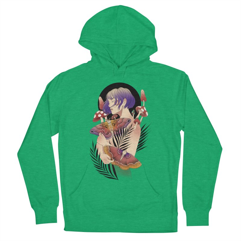 Moths and Mushrooms Women's French Terry Pullover Hoody by Kobrah's Artist Shop