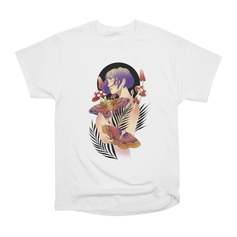 Moths and Mushrooms Men's Heavyweight T-Shirt by Kobrah's Artist Shop