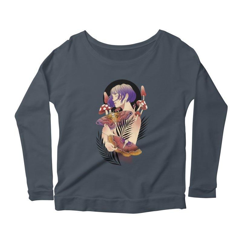 Moths and Mushrooms Women's Scoop Neck Longsleeve T-Shirt by Kobrah's Artist Shop