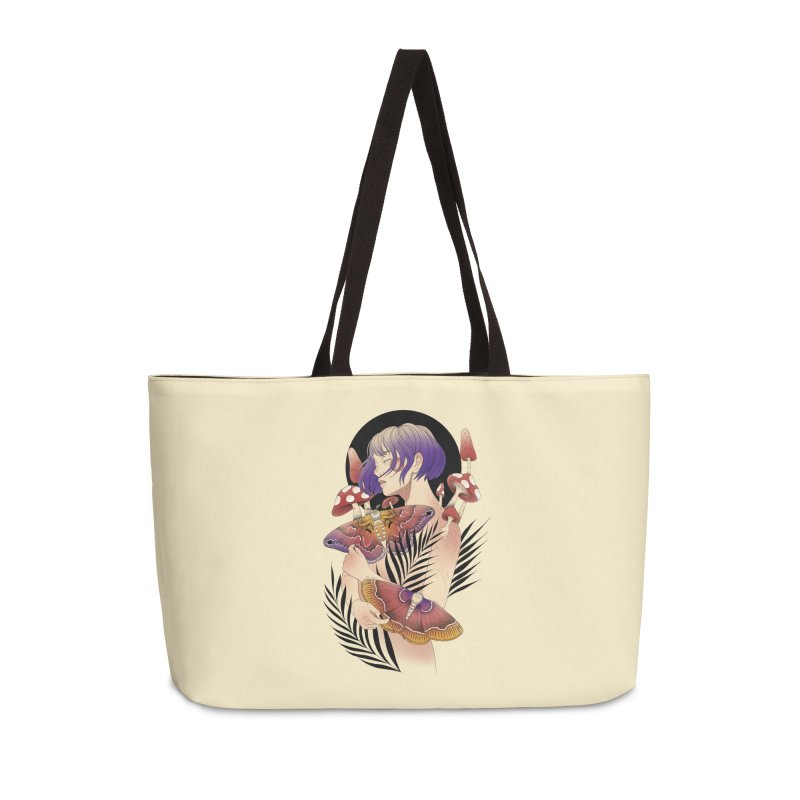 Moths and Mushrooms Accessories Weekender Bag Bag by Kobrah's Artist Shop