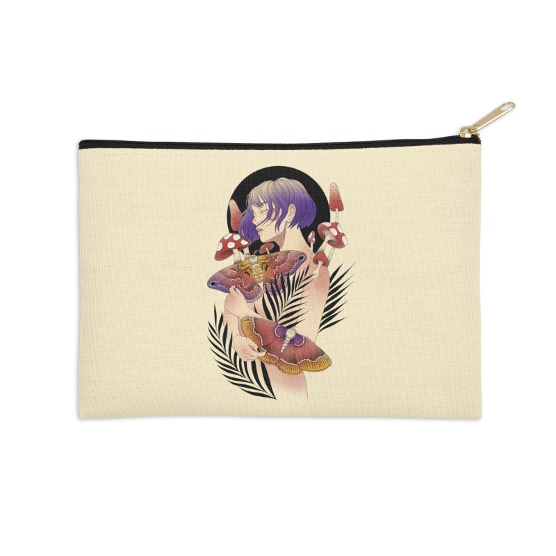 Moths and Mushrooms Accessories Zip Pouch by Kobrah's Artist Shop