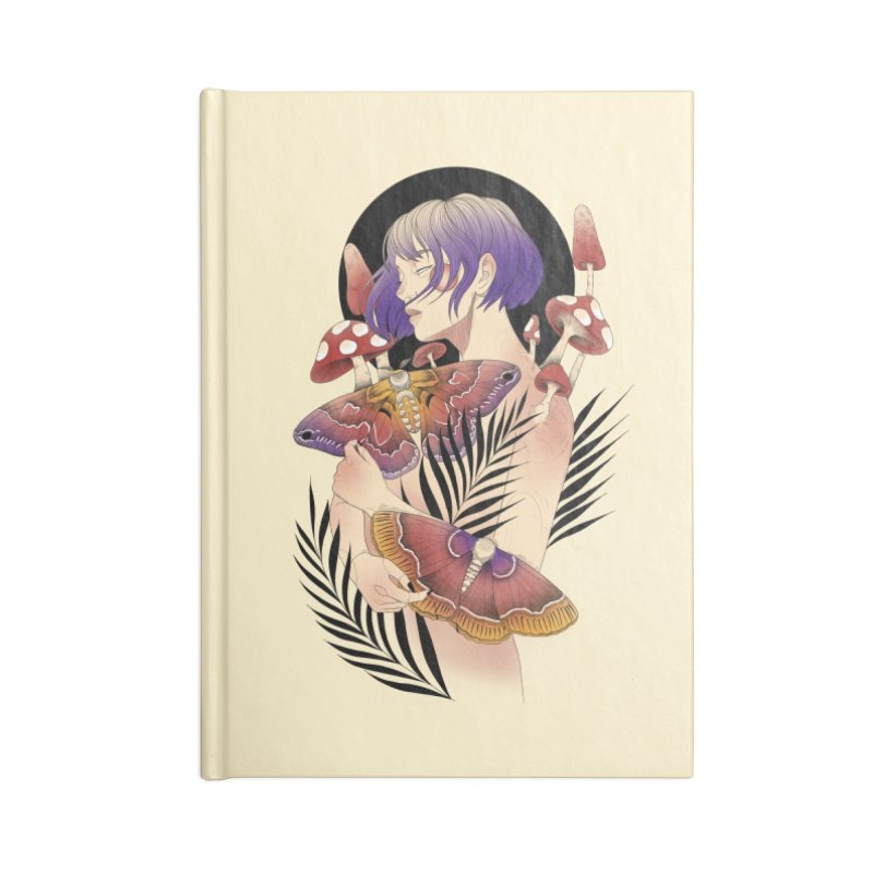 Moths and Mushrooms Accessories Lined Journal Notebook by Kobrah's Artist Shop