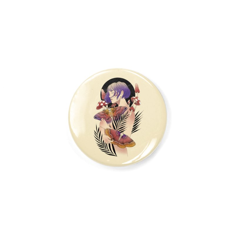 Moths and Mushrooms Accessories Button by Kobrah's Artist Shop
