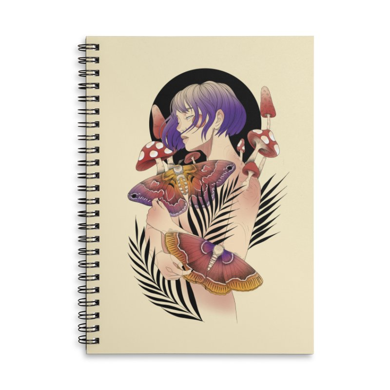 Moths and Mushrooms Accessories Lined Spiral Notebook by Kobrah's Artist Shop