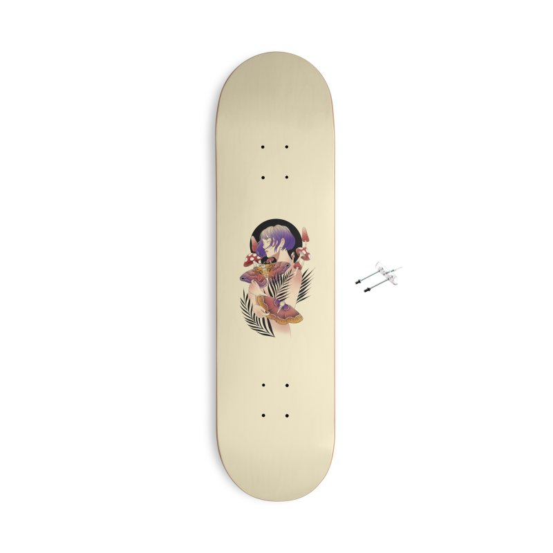 Moths and Mushrooms Accessories With Hanging Hardware Skateboard by Kobrah's Artist Shop