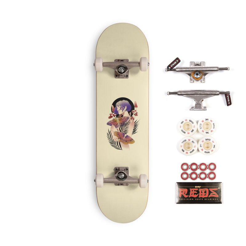 Moths and Mushrooms Accessories Complete - Pro Skateboard by Kobrah's Artist Shop