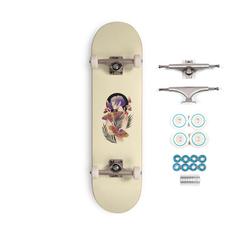 Moths and Mushrooms Accessories Complete - Basic Skateboard by Kobrah's Artist Shop