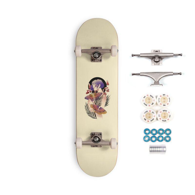 Moths and Mushrooms Accessories Complete - Premium Skateboard by Kobrah's Artist Shop
