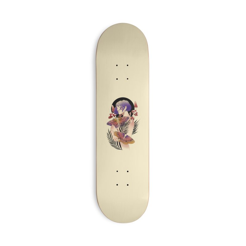 Moths and Mushrooms Accessories Deck Only Skateboard by Kobrah's Artist Shop