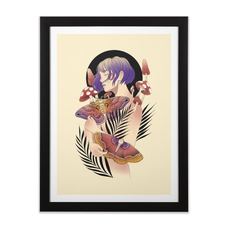 Moths and Mushrooms Home Framed Fine Art Print by Kobrah's Artist Shop