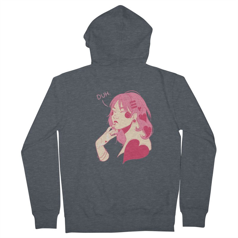 Duh Women's French Terry Zip-Up Hoody by Kobrah's Artist Shop