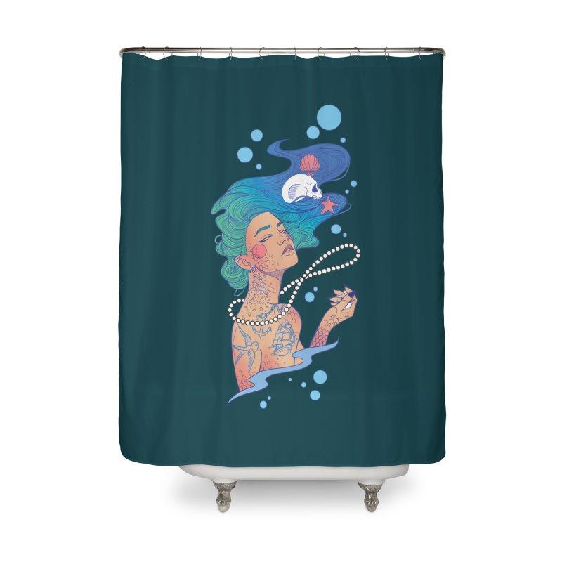 Siren Home Shower Curtain by Kobrah's Artist Shop