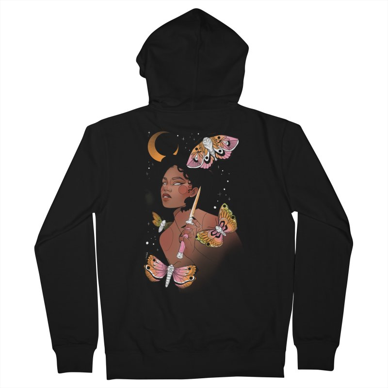 Moths and Dagger Men's French Terry Zip-Up Hoody by Kobrah's Artist Shop