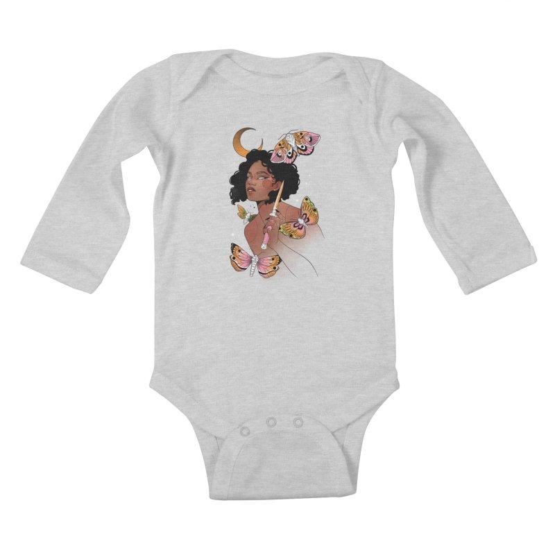 Moths and Dagger Kids Baby Longsleeve Bodysuit by Kobrah's Artist Shop