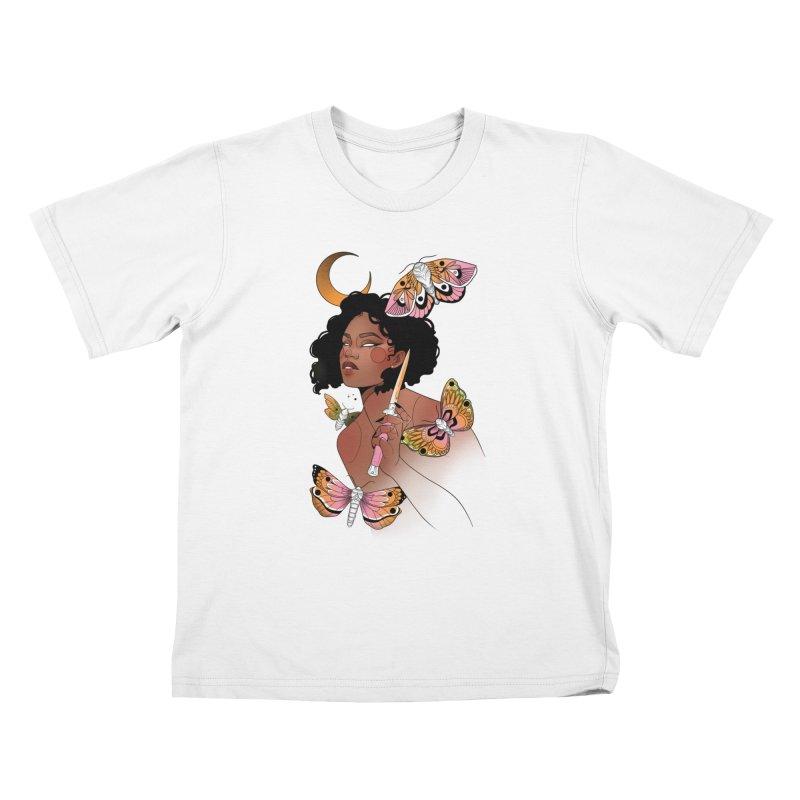 Moths and Dagger Kids T-Shirt by Kobrah's Artist Shop