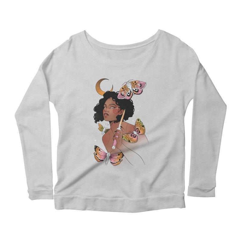 Moths and Dagger Women's Scoop Neck Longsleeve T-Shirt by Kobrah's Artist Shop