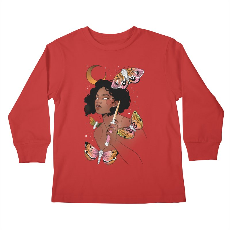 Moths and Dagger Kids Longsleeve T-Shirt by Kobrah's Artist Shop