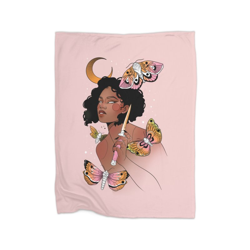 Moths and Dagger Home Fleece Blanket Blanket by Kobrah's Artist Shop