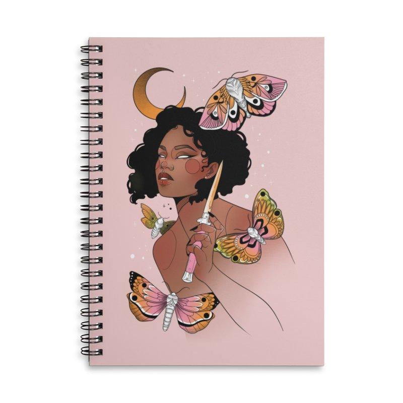 Moths and Dagger Accessories Lined Spiral Notebook by Kobrah's Artist Shop