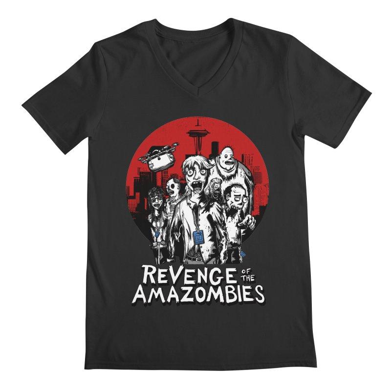 Revenge of the Amazombies Men's Regular V-Neck by Kodi Sershon