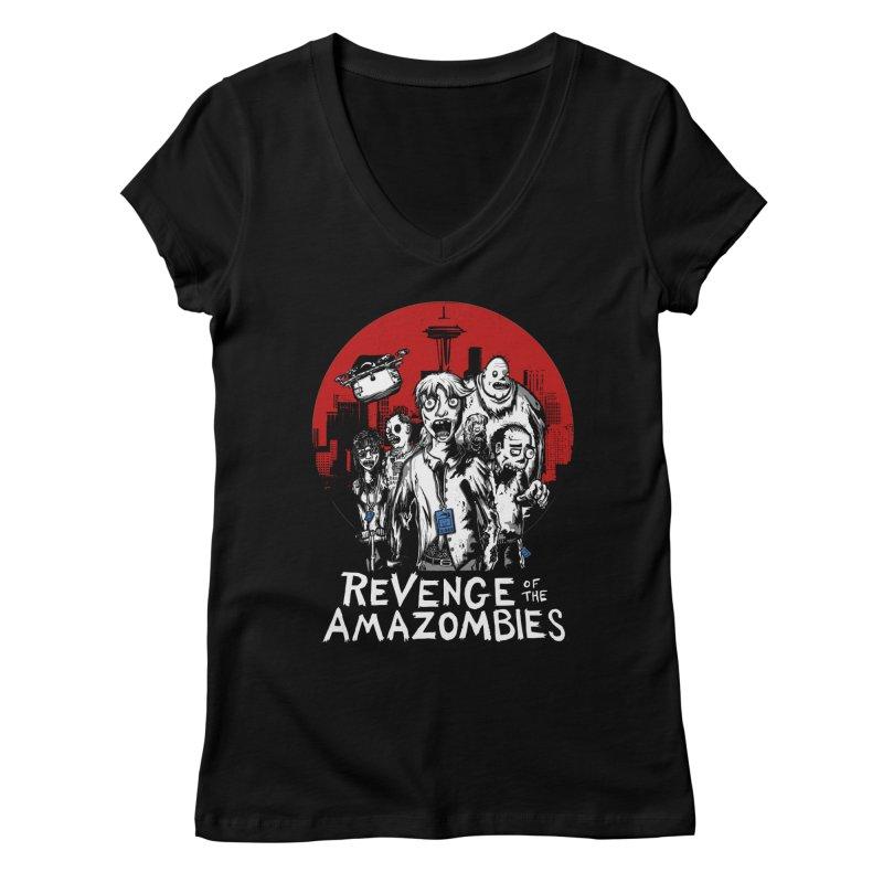 Revenge of the Amazombies Women's Regular V-Neck by Kodi Sershon